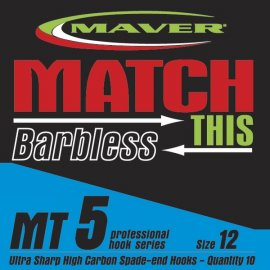 Maver Match This Barbless Mt5 Hooks Size 14 Eyed