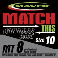 Maver Match This Mt8 Barbless Eyed Hooks Size 10