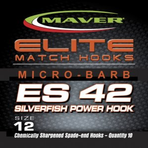 Maver Elite Es42 Silverfish Power Match Hooks Size 18