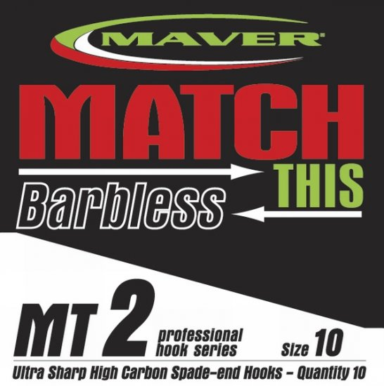 Maver Match This Barbless Mt2 Hooks Size 10