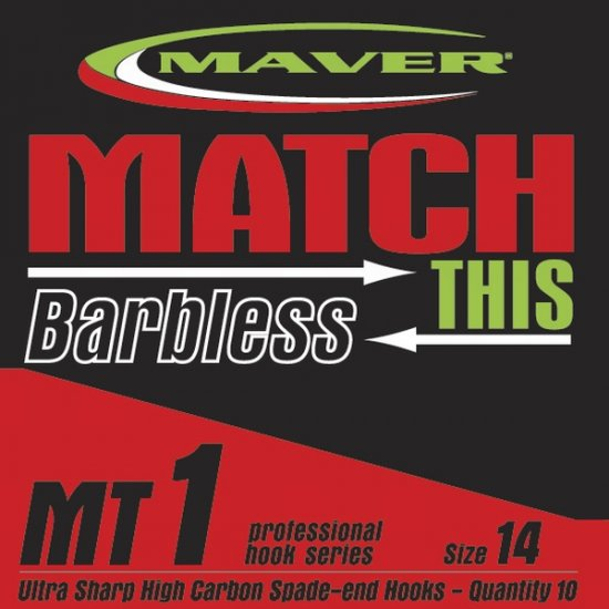 Maver Match This Barbless Mt1 Hooks Size 22