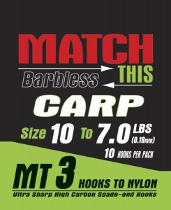 Maver Match This Hook To Nylon Carp Size 18 To 4.1 Lbs