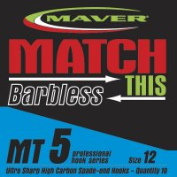 Maver Match This Barbless Mt5 Hooks Size 10 Eyed