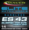 Maver Elite Es43 Silverfish Wide Gape Match Hooks Size 14