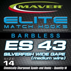 Maver Elite Es43 Silverfish Wide Gape Match Hooks Size 20