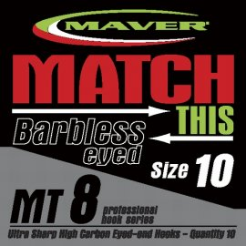 Maver Match This Mt8 Barbless Eyed Hooks Size 18
