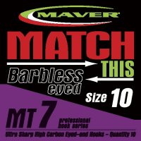 Maver Match This Mt7 Barbless Eyed Hooks Size 10